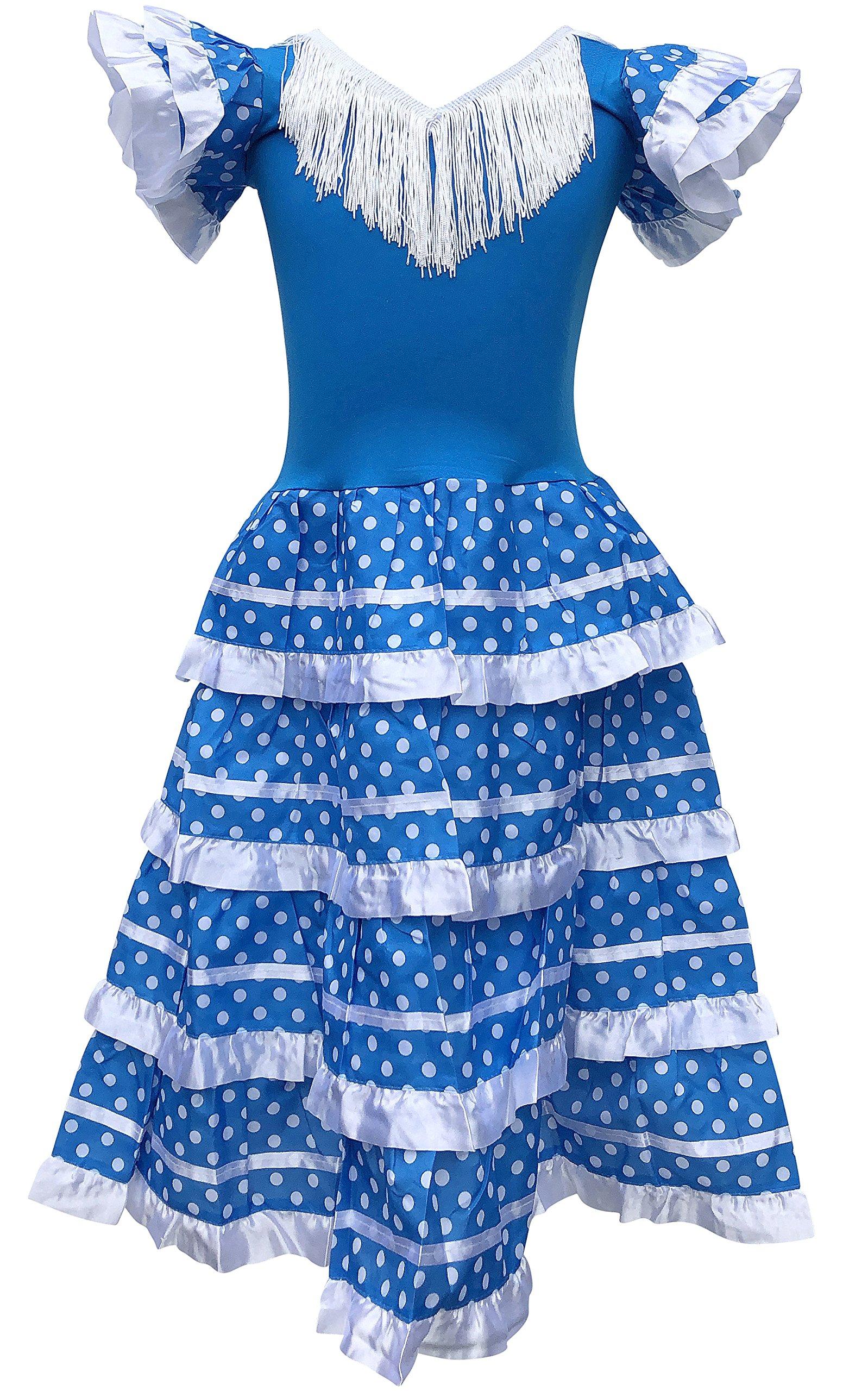 3428c4c928 La Senorita Vestido Flamenco Español Traje de Flamenca chica niños azul  blanco (Talla 8