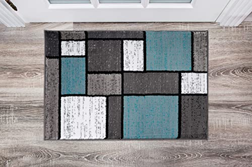 Contemporary Modern Boxes Area Rug 2 x 3 Blue Gray