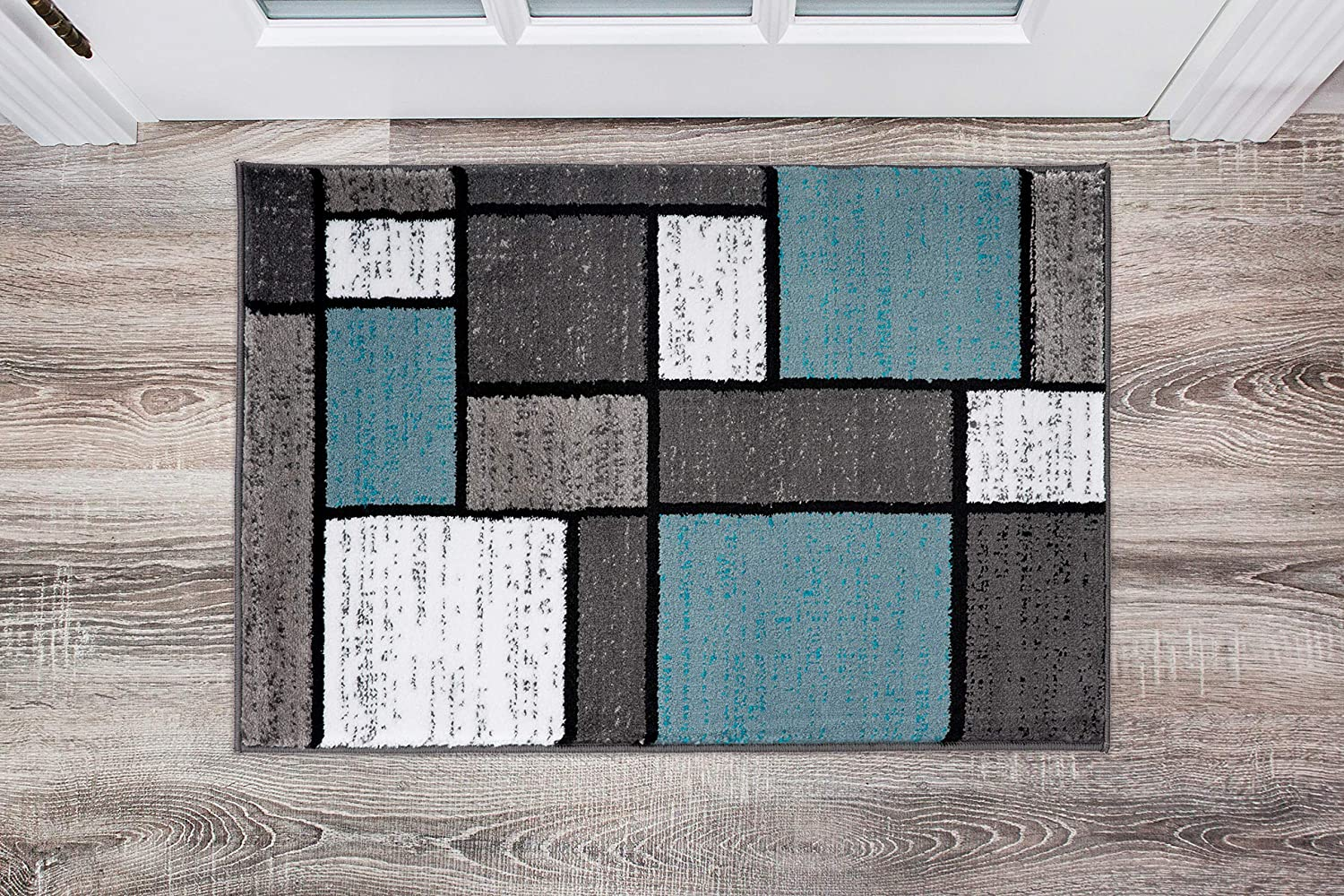 Contemporary Modern Boxes Area Rug 2' x 3' Blue/Gray