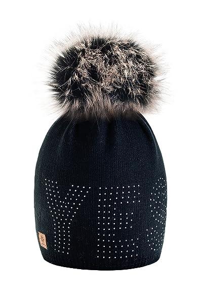Gorro 4sold, de lana, de invierno, para mujer, forro polar, grande, con pompón de pelo, gorro de esquí y snowboard, Bobble Negro negro Talla única: ...