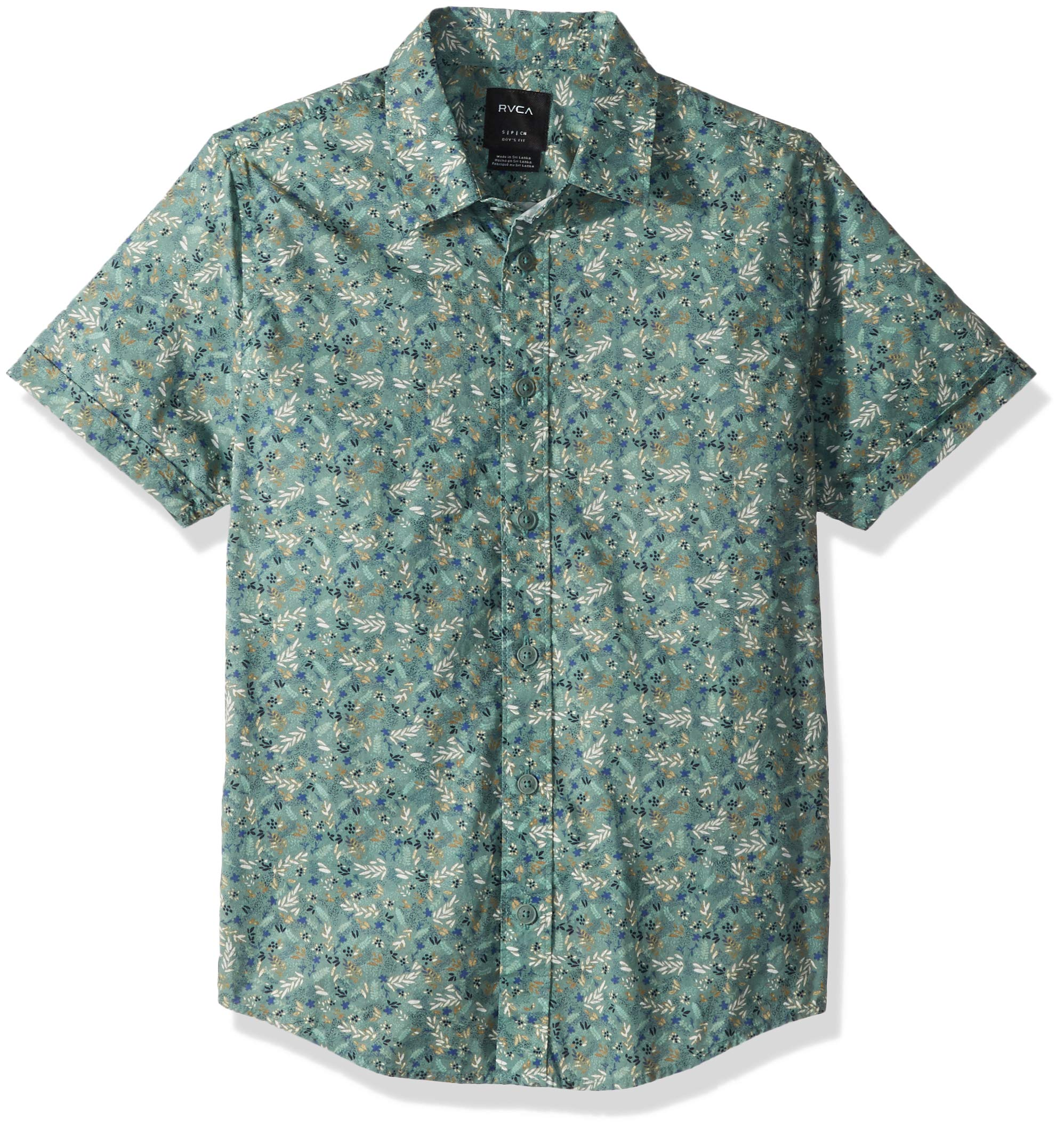 RVCA Boys' Big Makoto Short Sleeve Woven Button UP Shirt, Pine Tree, XL