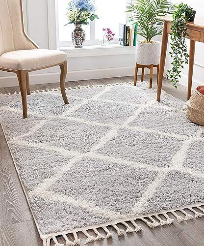 Well Woven Celina Grey Moroccan Shag Diamond Trellis Pattern Area Rug 8×10 7 10 x 9 10