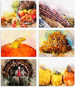 "Watercolor Autumn Blank Note Cards - Blank Greeting Cards - 6 Fall Designs - Includes Card and Envelopes - 5.5""X4.25"" (12 Pack)"