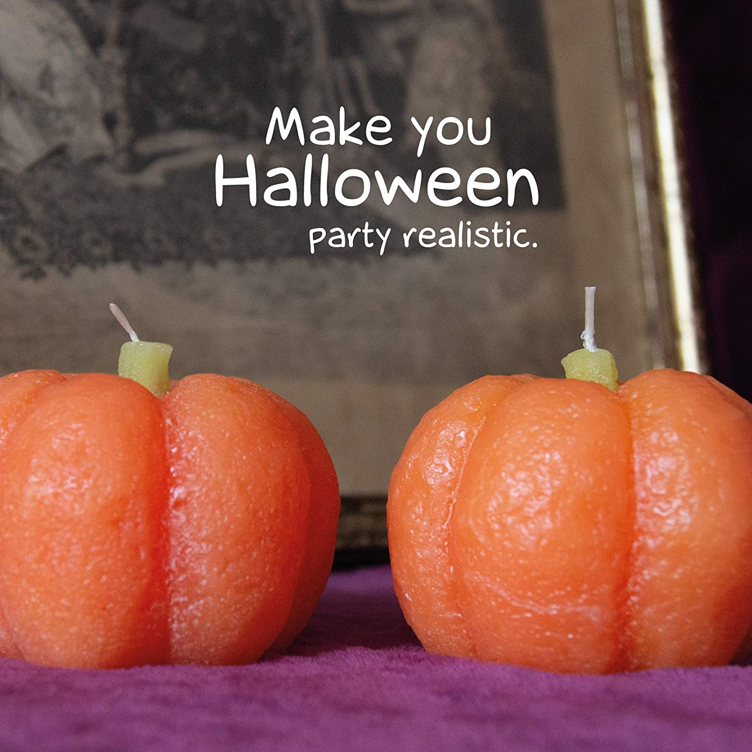 Long Lasting Candles for Home CANDWAX 2 pcs Orange Fall Pumpkin Decor Candle for Cute Halloween Decoration Funny Candles