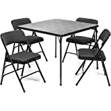 XL Series Folding Card Table Fabric Padded Chair Set (5pc) - Comfortable Padded Upholstery - Fold Away Design, Quick Storage Portability - Premium Quality (Black)
