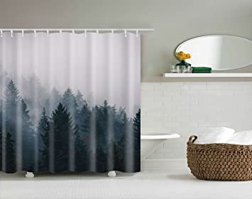 Mountain Shower Curtain Custom Shower Curtains Fog Pine Trees Forest Tree  Unique Bath Decor Waterproof Polyester
