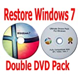 Windows 7 Starter 32 Bit Recovery Restore Repair Boot Microsoft CD Disc + FREE BONUS Drivers DVD included! Double DVD Pack