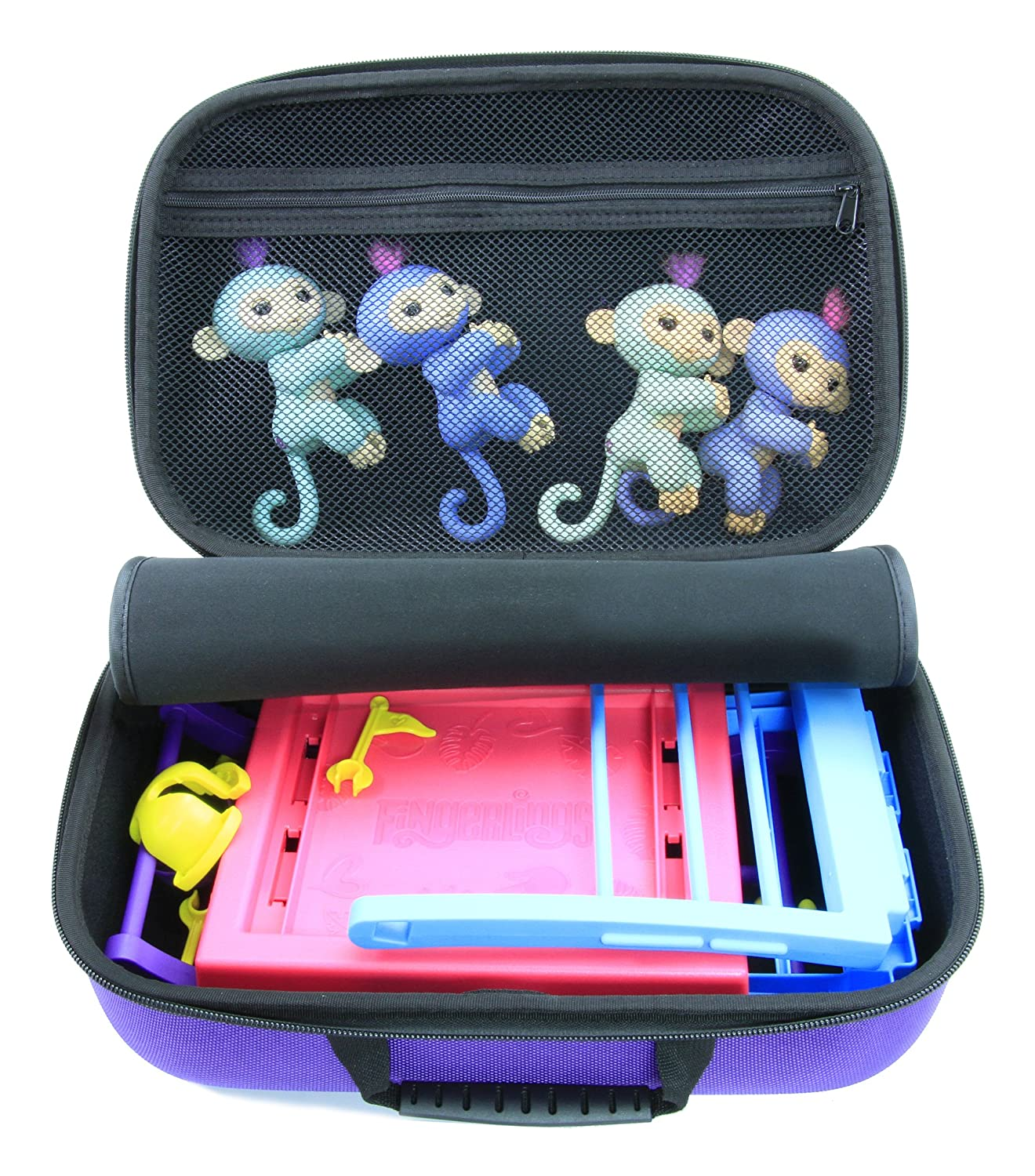 KIDCASE Travel Carry Case Fits Fingerlings Baby Monkey Collector Toys – The Fun Way To Store Your Children's Play Set Collection CASEMATIX