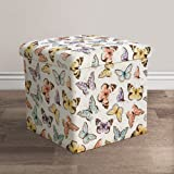 """Lush Decor Lush Décor Flutter Butterfly Fabric Covered Collapsible Ottoman, 15"""" x 15"""" x 15"""", Pink"""