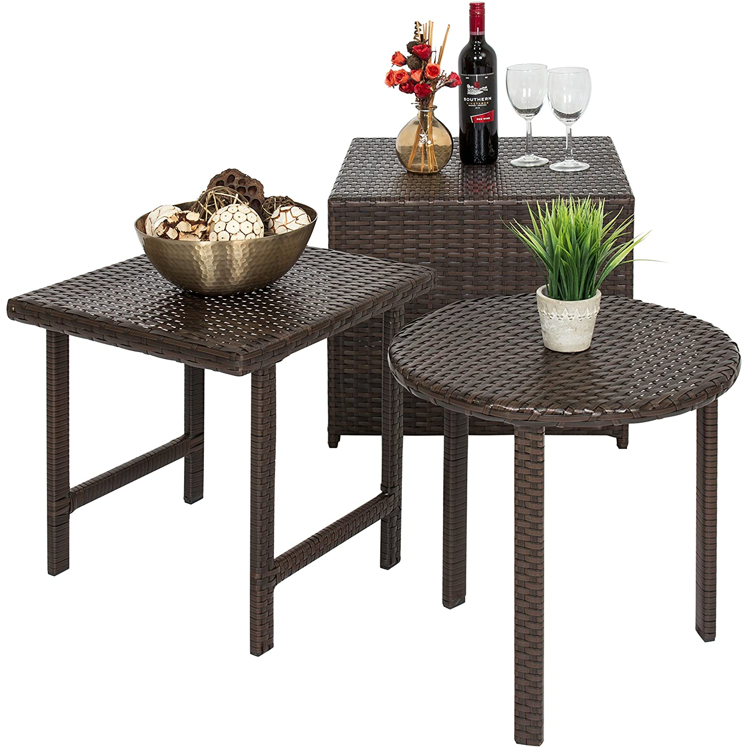 Amazon com best choice products set of 3 outdoor patio furniture wicker tables w square round and ottoman table brown garden outdoor