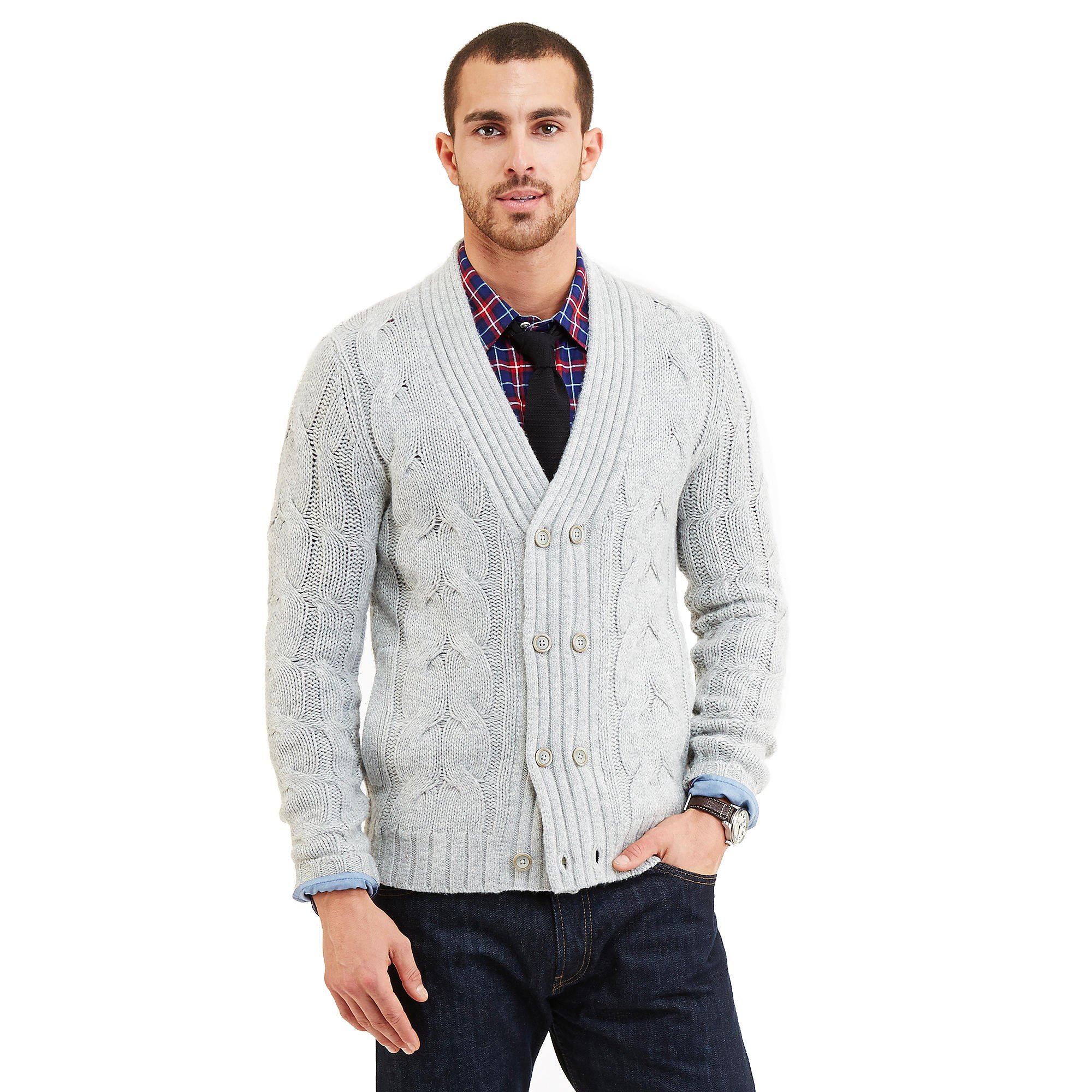 Nautica Men's Double Breasted Cable Knit Cardigan (Medium, Grey Heather)