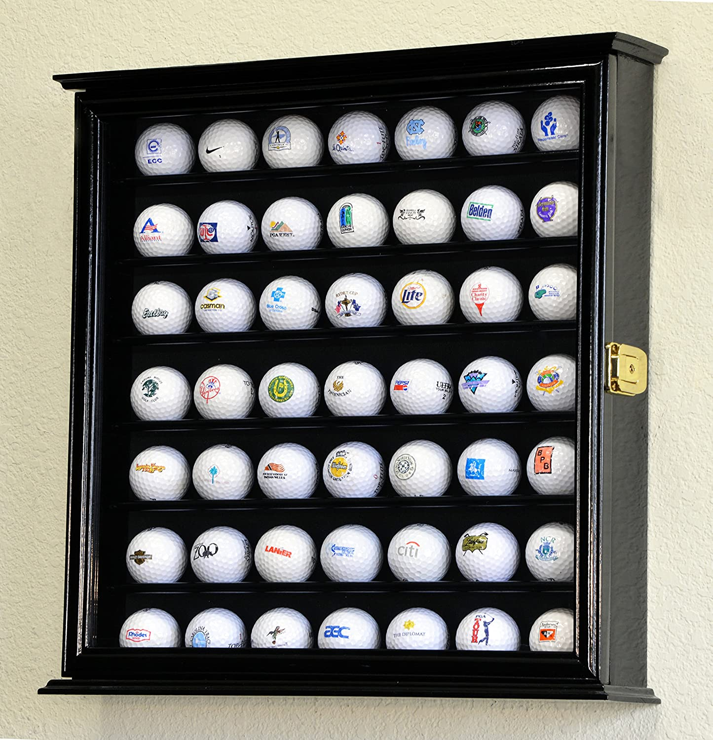 Charmant Amazon.com : 49 Golf Ball Display Case Cabinet Wall Rack Holder W/98% UV  Protection Lockable  Black : Sports Related Display Cases : Sports U0026  Outdoors