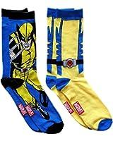 Marvel X-Men Wolverine Men's Crew Socks 2 Pair Pack Shoe Size 6-12