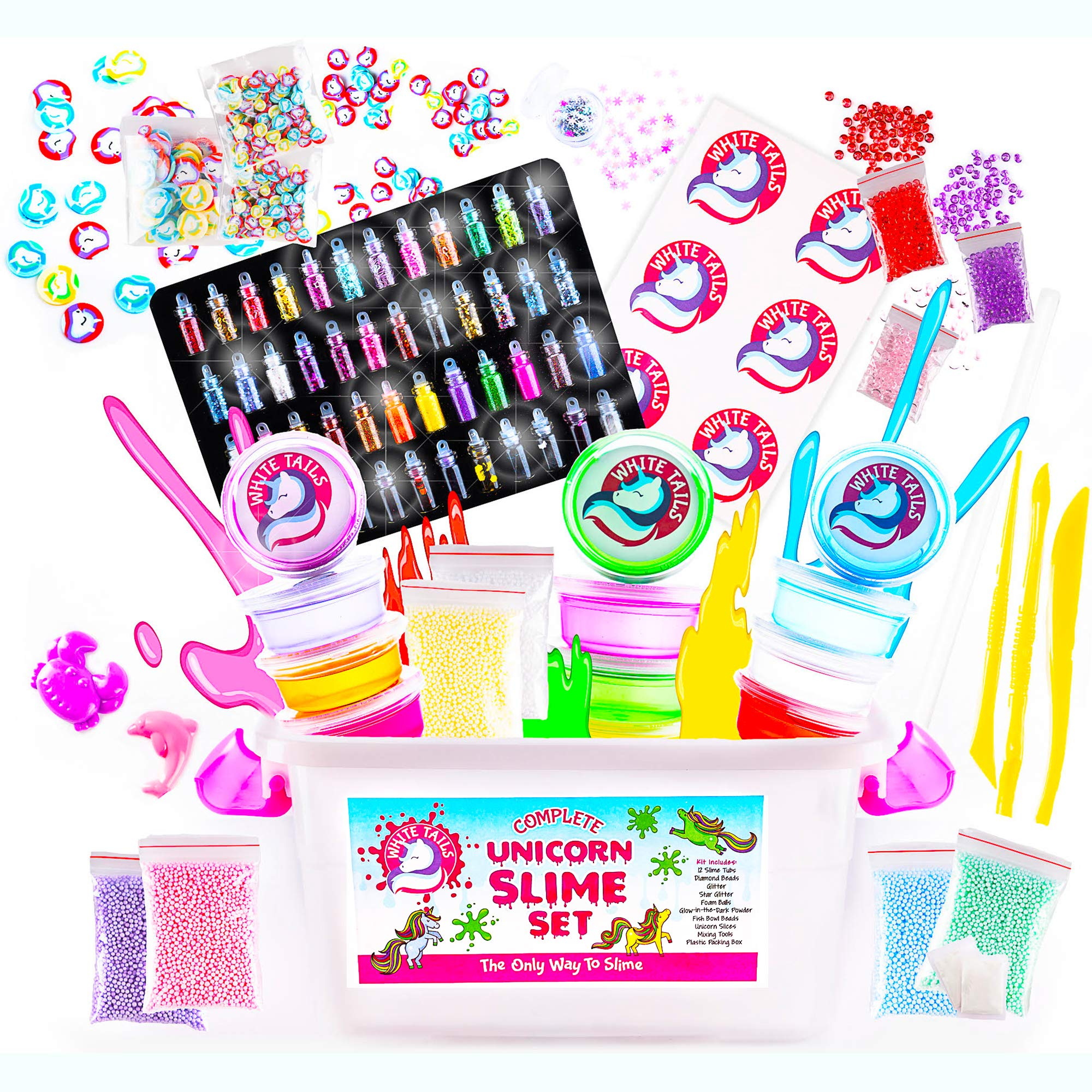White Tails Unicorn Slime Kit for Girls and Boys 12 Containers of Clear Slime for Kids by White Tails (Image #1)