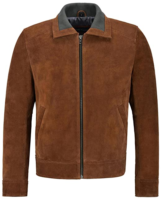 Smart Range Mens Suede Leather Bomber Jacket Knit Collared Tan Modern Blouson Fashion 2959 at Amazon Mens Clothing store: