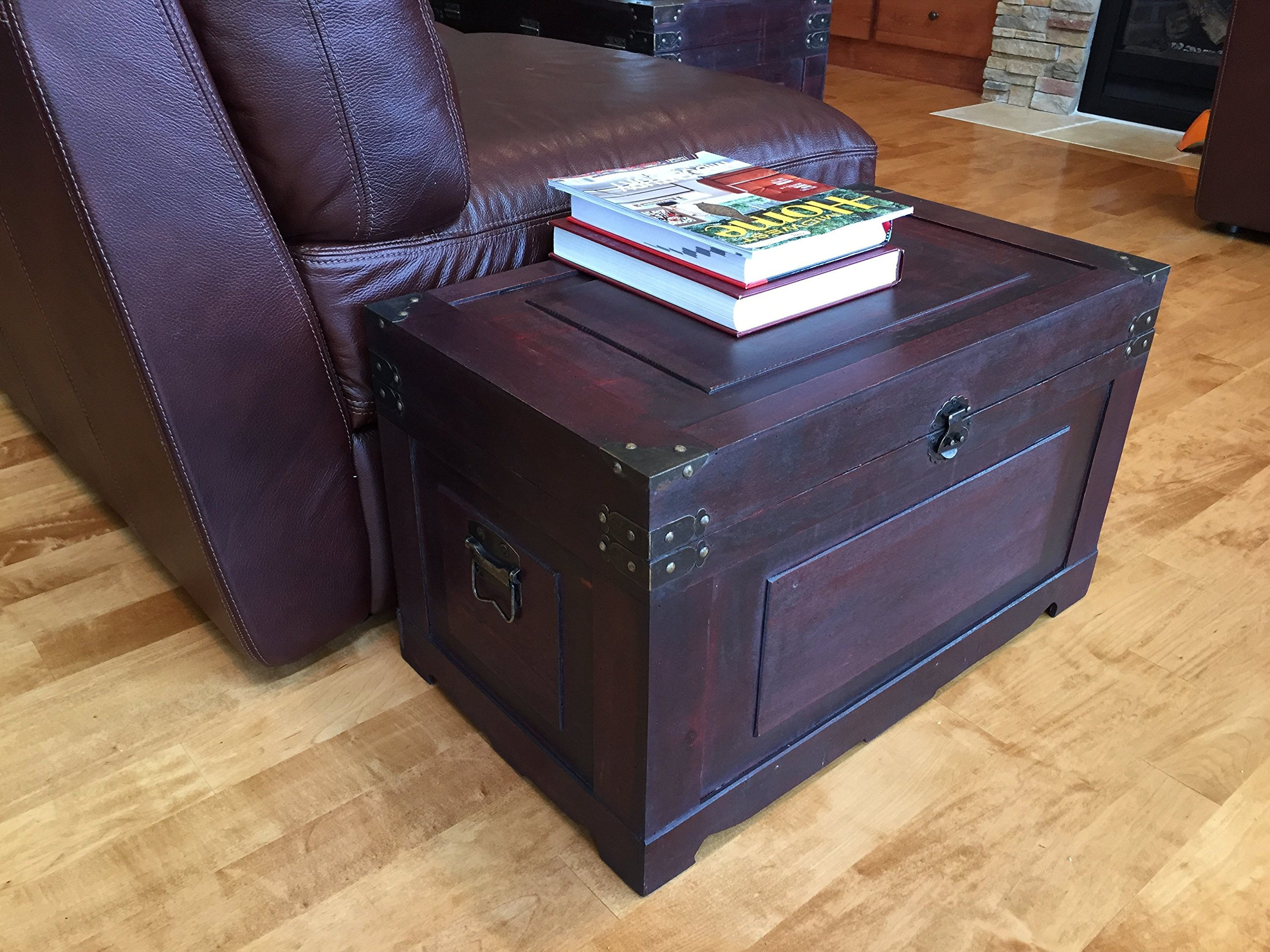 Styled Shopping Newport Medium Wood Storage Trunk Wooden Treasure Chest - Red