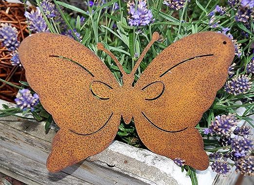 Mariposa para colgar con aspecto oxidado, 18 x 13 cm, decoración de jardín: Amazon.es: Jardín