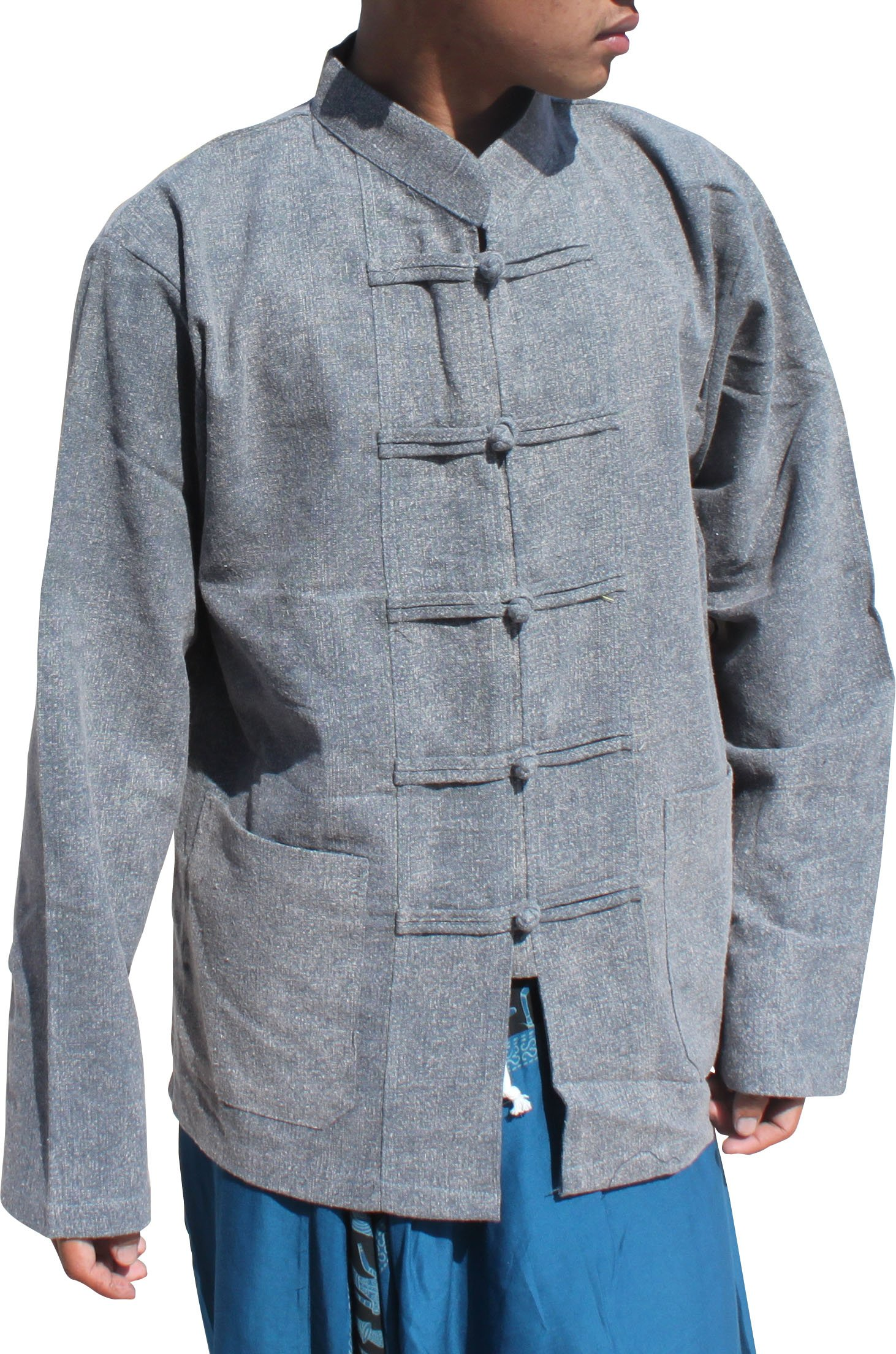 Raan Pah Muang Stonewash Medieval Cotton Shirt Chinese Jacket Collar Long Sleeve Plus, XX-Large, Gray