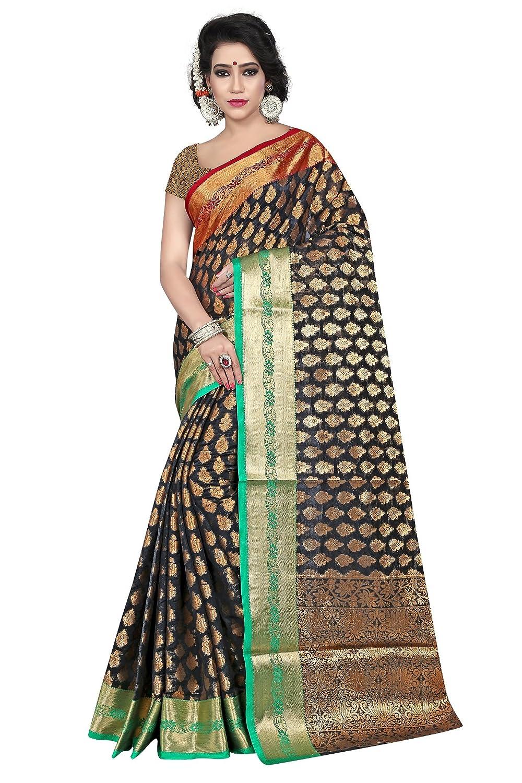 Black Color Banarasi Silk Saree With Blouse Piece Collection