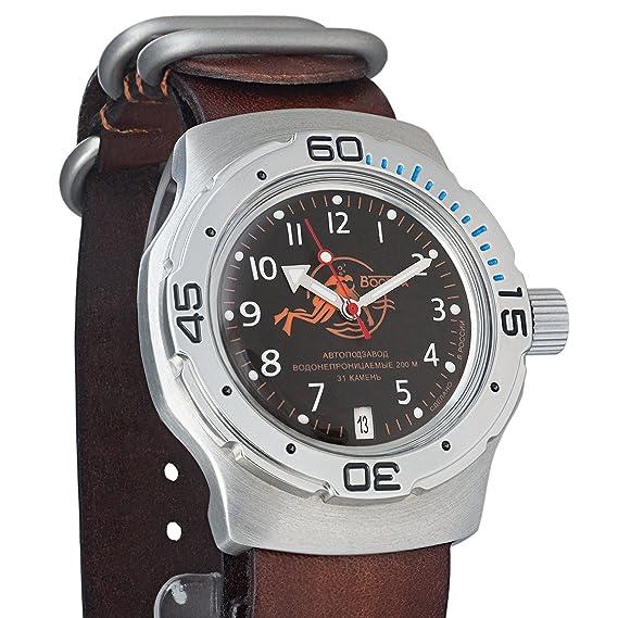 Vostok Anfibios naranja Scuba Dude ruso Militar reloj de pulsera correa de piel WR 200 M # 160380: Amazon.es: Relojes