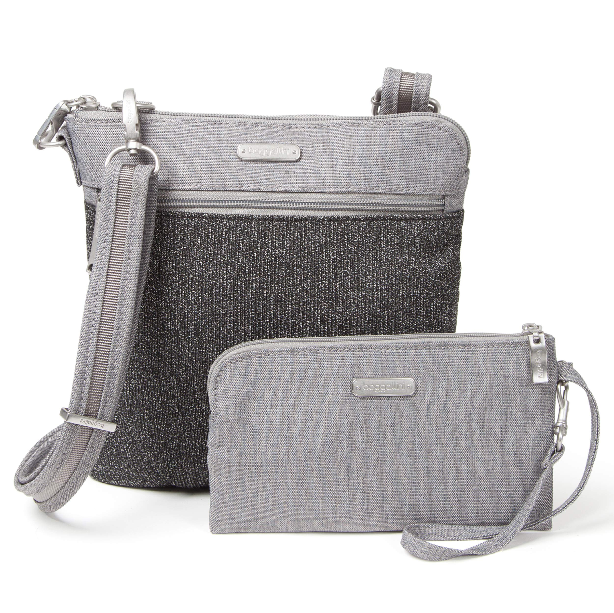 Baggallini Anti-Theft Slim Crossbody Bag - Stylish Long-Strap Purse With Locking Zippers and RFID-Protected Wristlet, Gray Design