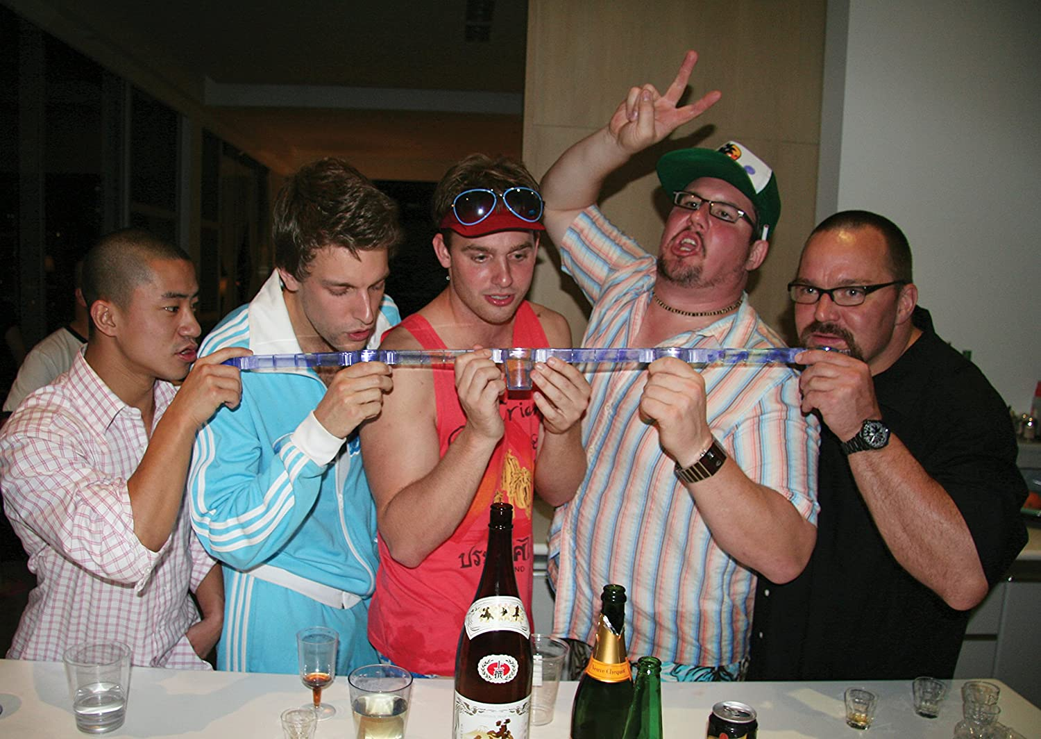 Includes Four Glasses and Three Posts Barbuzzo Party Shot Glasses Take Shots of Your Favorite Beverage with Your Three Favorite Friends