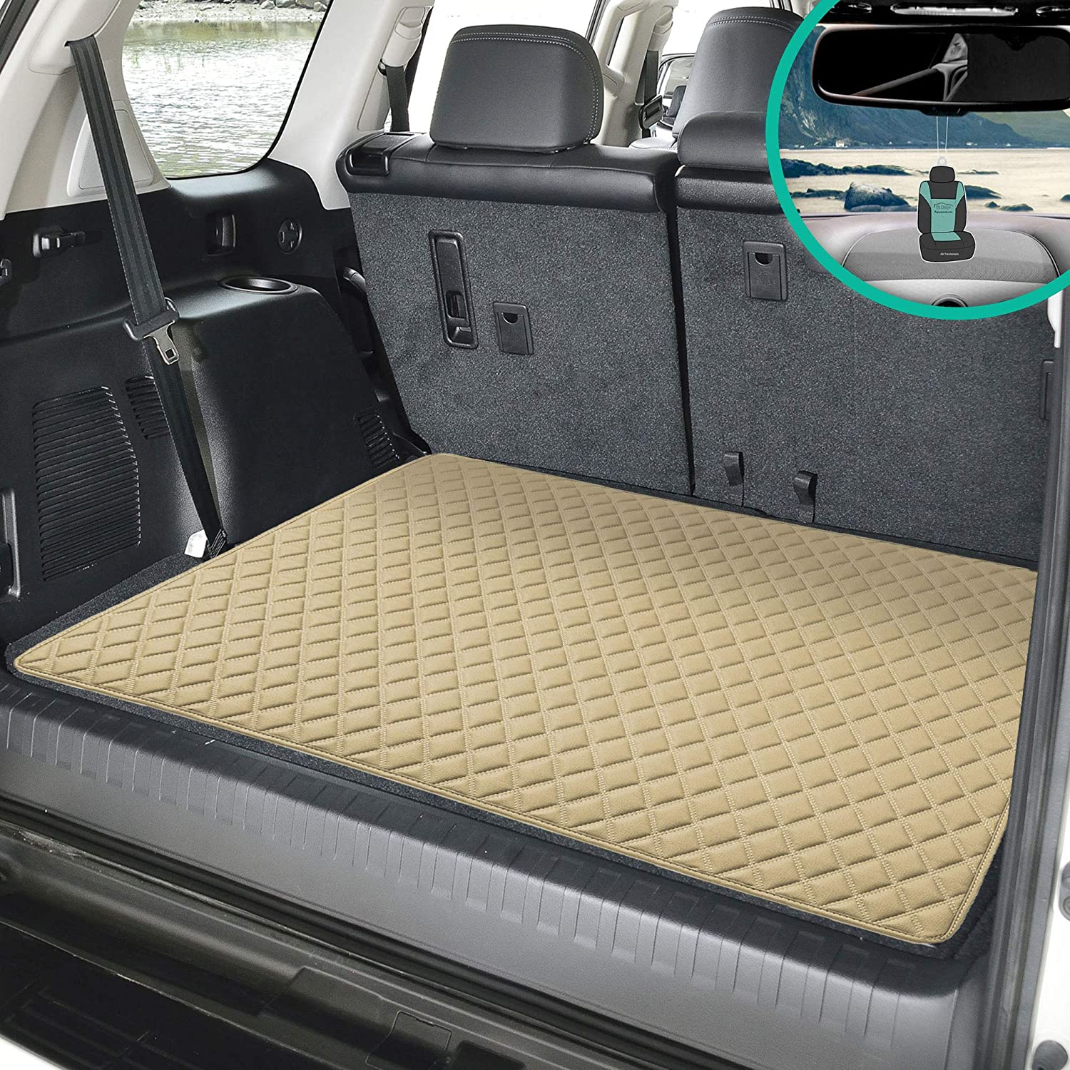 FH Group F16501 Deluxe Heavy-Duty Faux Leather Diamond Pattern Multi-Purpose Cargo Liner (Beige) 32 INCH - Universal Fit for Cars, Trucks & SUVs