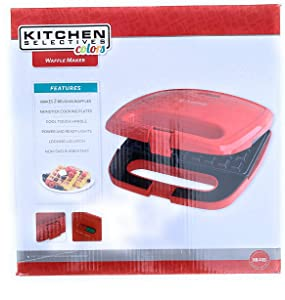 Affle Maker, Red, Makes 2 Belgian Waffles, Non Stick Cooking Plate, Cool Touch Handle Power and Ready Lights,locking Lid Latch, Non-skid Rubber Feet.