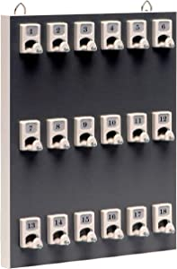 Key Rack, Key Storage #18PGS with 18 Numbered Hooks for Small Businesses or Residential (21 Sets of Tag & Ring Included) - Made in USA