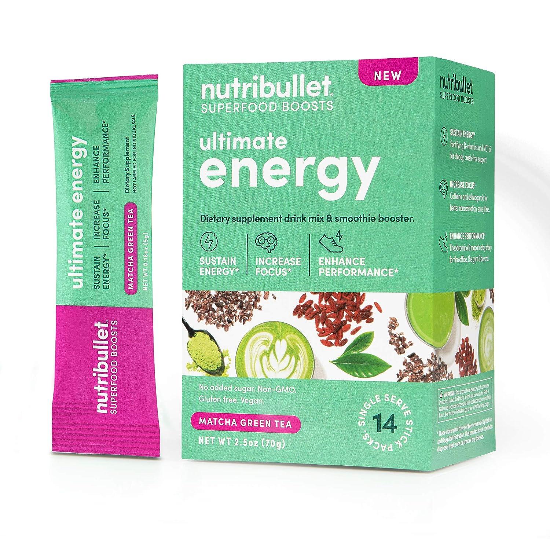 NutriBullet Superfood Boosts – Ultimate Energy (with MCT, B-vitamins, Matcha, Ashwagandha, Goji & natural caffeine), Matcha, 14 Stick Packs