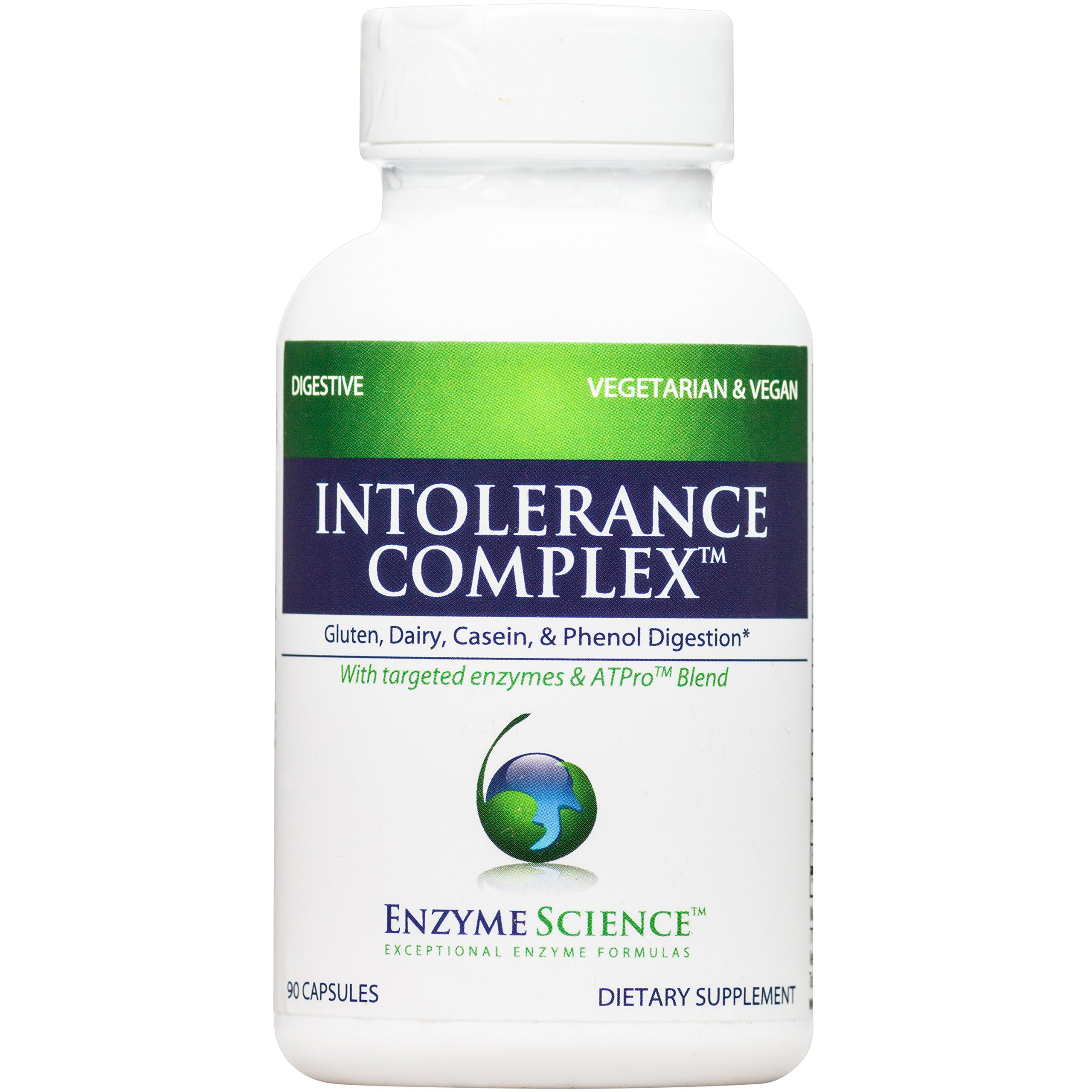 Enzyme Science - Intolerance Complex, Comprehensive Support to Relieve Common Digestive Sensitivities to Dairy, Lactose, Gluten and Casein with Enzymes and Probiotics, Vegan, 90 Capsules by Enzyme Science