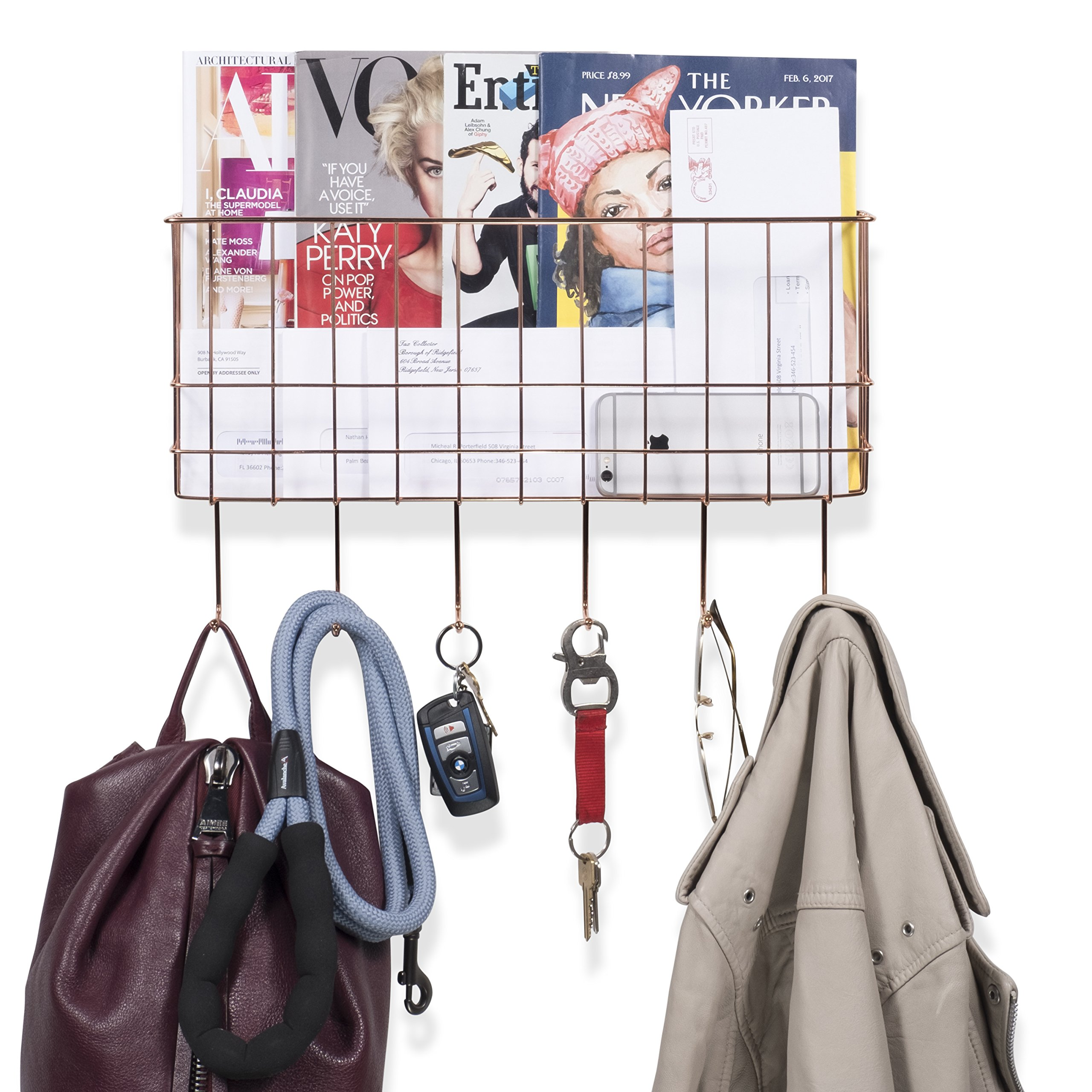 WALL35 Sicily Unique Metal Wire Basket - Wall Mounted Entryway Organizer - Key Holder - Coat Rack with Hooks - Mail and Magazine Holder (Copper) by Wall35 (Image #2)