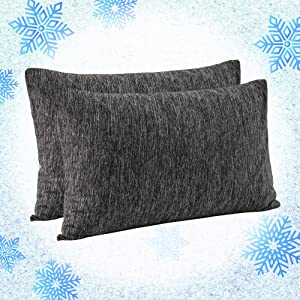 """EverGrace 2 Pack Cooling Pillow Cover with Cooling Technology Fiber, Breathable Soft Eco-Friendly Queen Pillowcases 20"""" x 30"""" -Envelope Closure End"""