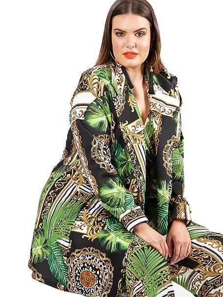 Koko Women/'s Plus Size Baroque Print Wrap Crop Top