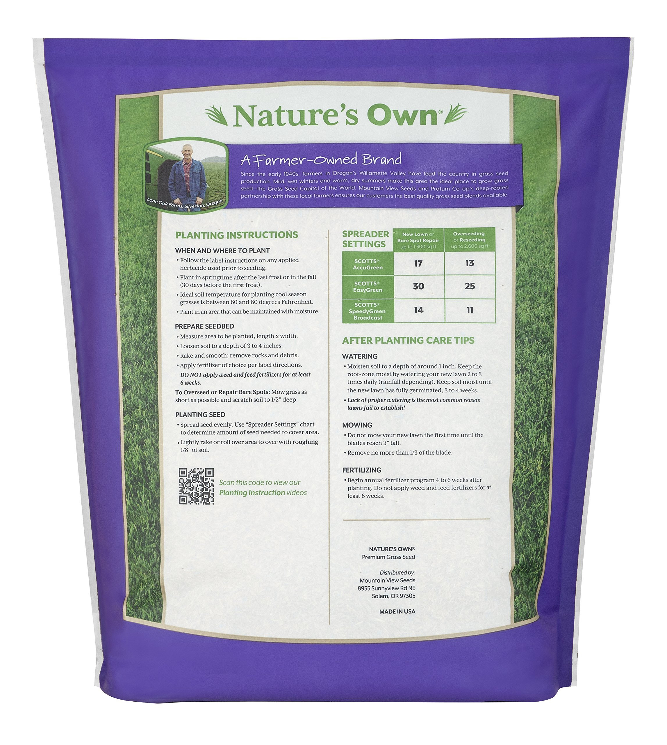 Mountain View Seeds Natures Own Pacific Northwest Mix Grass Seed, 8-pounds by Mountain View Seed (Image #2)