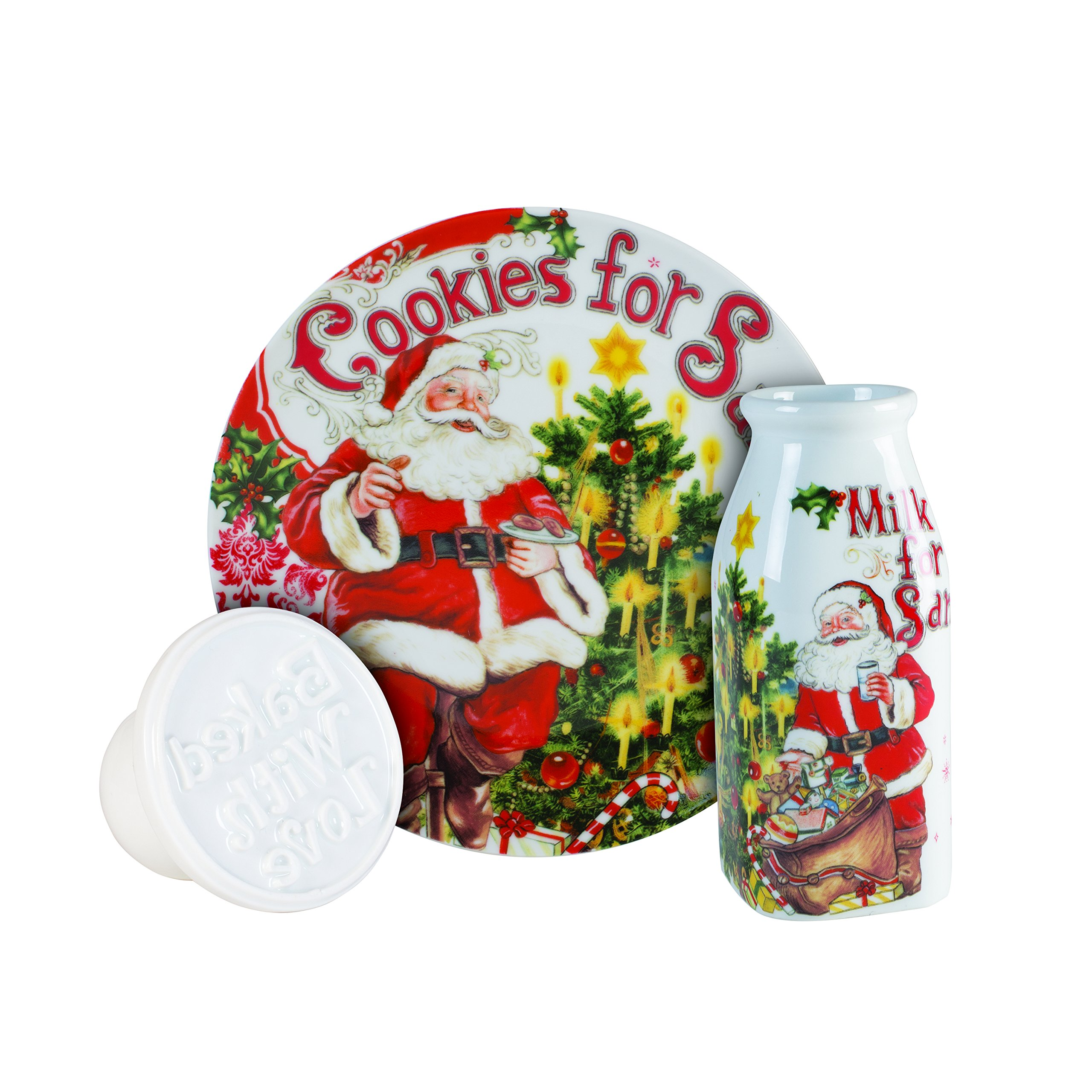 Fitz and Floyd 3 Piece Old World Christmas Milk and Cookies Press Set, White/Red/Green by Fitz and Floyd (Image #1)