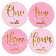 Mumsy Goose Month Stickers Baby Girl Milestone Stickers 1-12 Months Girl 1st Year Stickers Blush Pink Gold Bodysuit Stickers Boho Baby