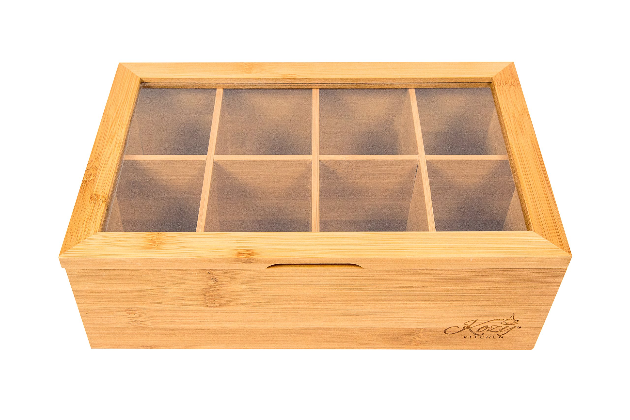Bamboo Tea Box Storage Organizer, 100% Natural Wooden Finish Tea Bag Organizer 8 Storage Compartments and Clear Shatterproof Hinged Lid by Kozy Kitchen (Image #3)