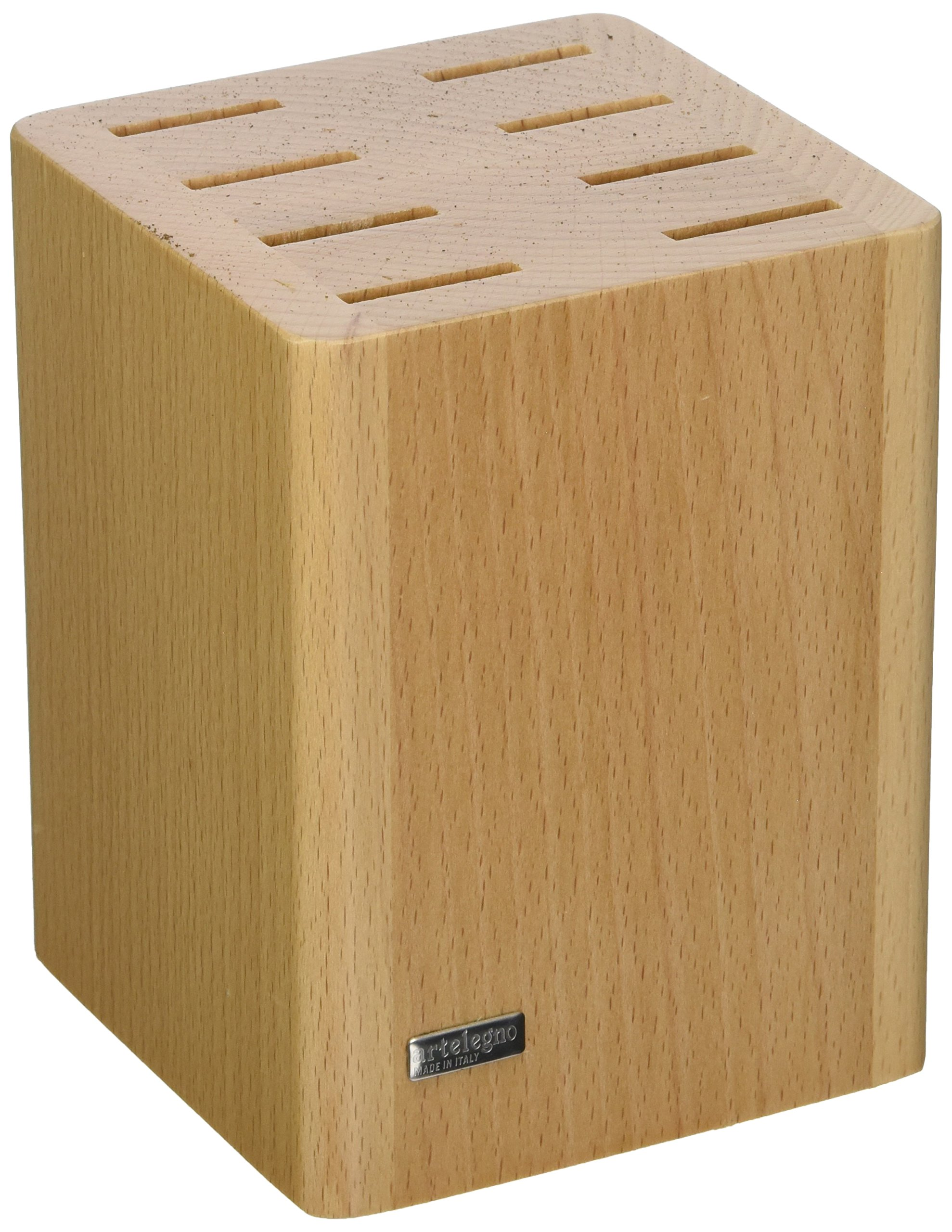 Artelegno Magnetic Knife Block Solid Beech Wood 2 Panel Displays/Protects 10 High-End Knives Elegantly, Luxurious Italian Milano Collection by Master Craftsmen, Eco-friendly, Natural Finish