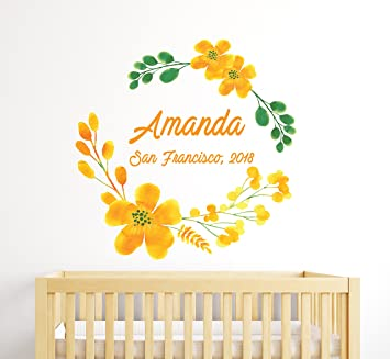 Amazon Yellow Flowers Wall Decoration Girl Name Of Your