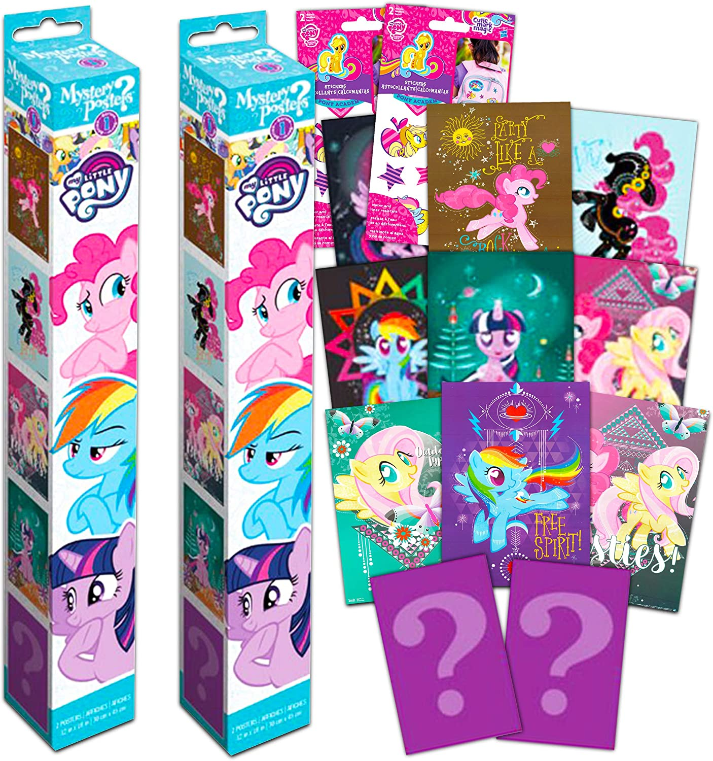 My Little Pony Poster Mystery Set ~ Bundle Includes 4 My Little Pony Wall Posters with Stickers (My Little Pony Room Decor for Kids Boys Girls)