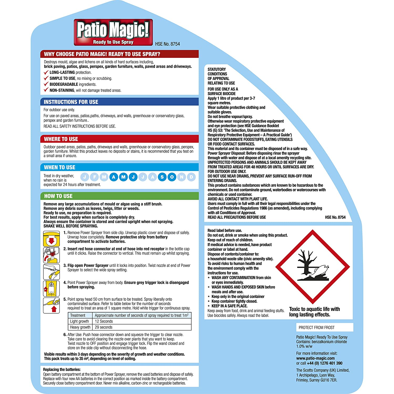 Patio Magic Ready To Use Spray 5l Amazon Garden Outdoors