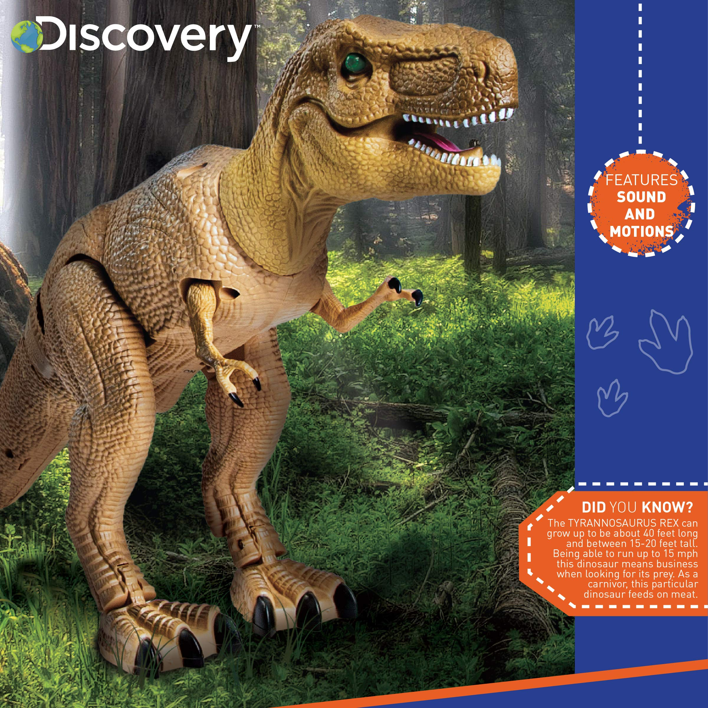 Discovery Kids Remote Control RC T Rex Dinosaur Electronic Toy Action Figure Moving & Walking Robot w/Roaring Sounds & Chomping Mouth, Realistic Plastic Model, Boys & Girls 6 Years Old+ by Discovery Kids (Image #3)