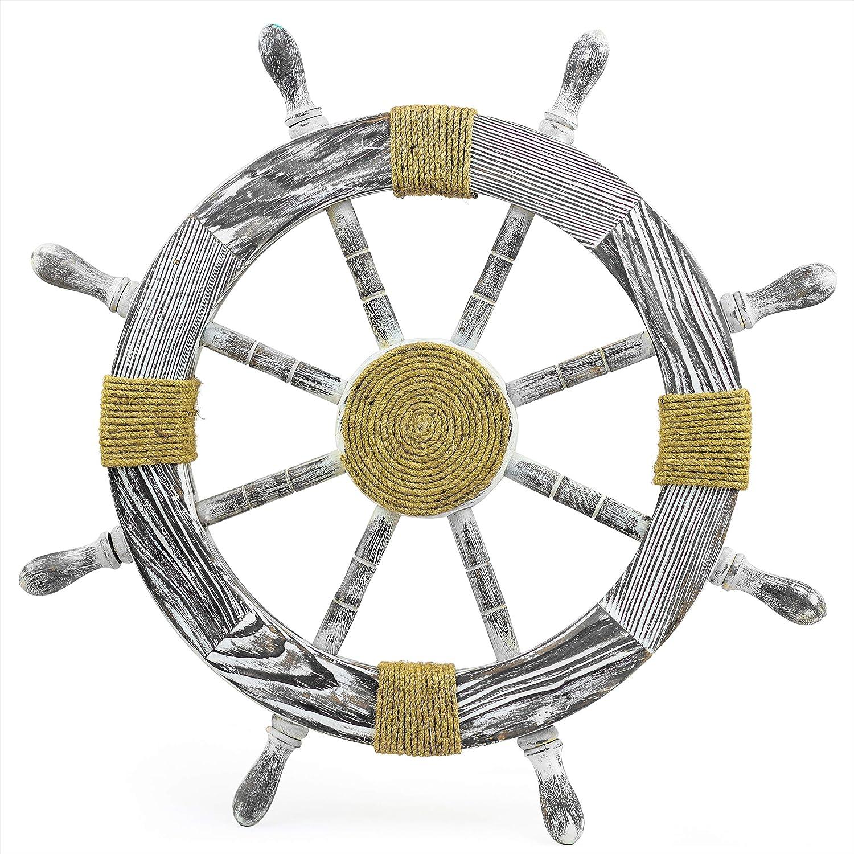 Nagina International Nautical Decorative Premium Pine Wood Ship Wheel | Captain Maritime Beach Home Decor Gift (42 Inches, with Rope)
