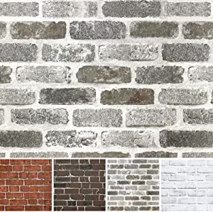 "Brick Wallpaper Peel and Stick Wallpaper 196.8""×17.7"" Removable Wallpaper Self Adhesive Faux Brick Wallpaper Retro White Gray Wall Paper Stick and Peel Wallpaper Home Decor Kitchen Backsplash Vinyl"