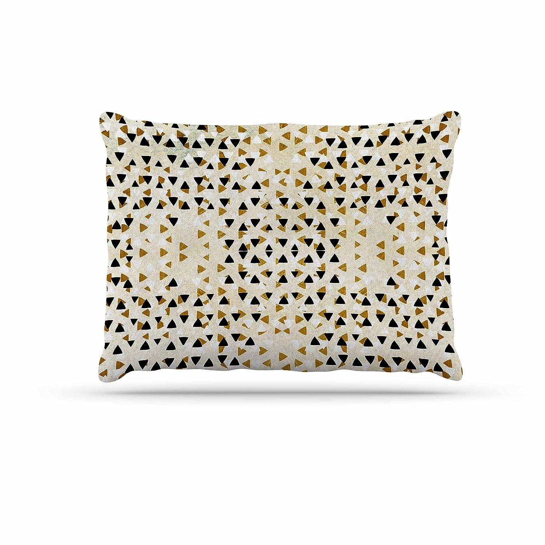 Kess InHouse Pom Graphic Design Diamond Sky  Beige Black Fleece Dog Bed, 30 by 40
