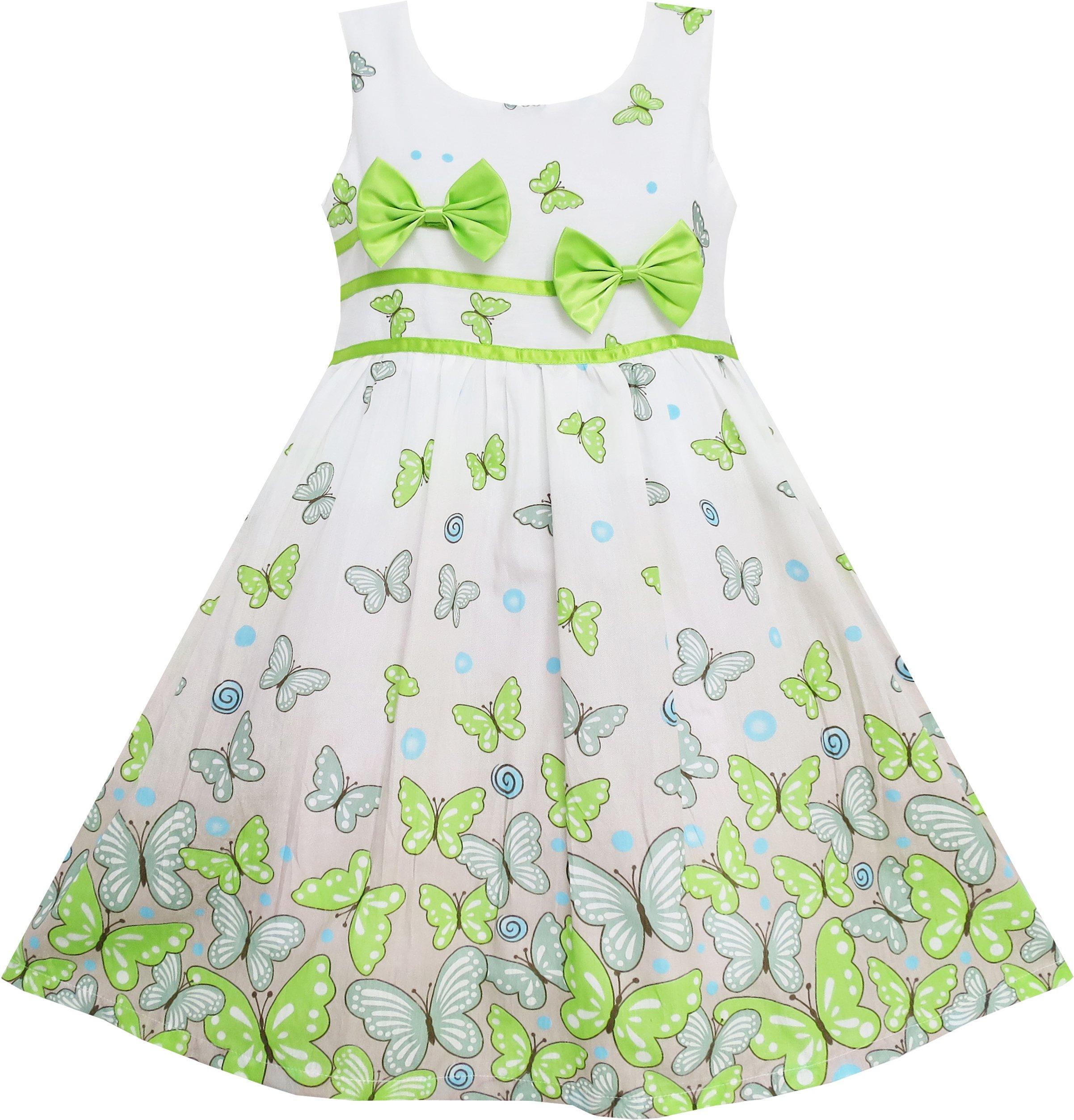 EY63 Sunny Fashion Big Girls' Dress Butterfly Green Double Bow Tie Summer Beach 7-8