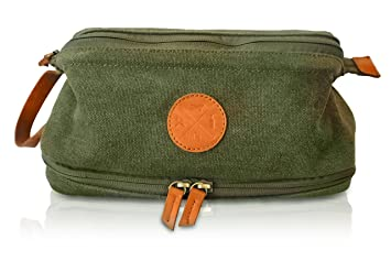 011832ff7abd TDG Mens Dopp Kit - Premium Canvas Shaving Toiletry Bag boasts Vegan Leather  Zipper and Handle
