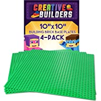 "Creative Builders | 4 Pack Sets Of X Large Green Building Brick Baseplates (Giant 10"" X 10"" Inch ) For Boys, Girls, & Friends 