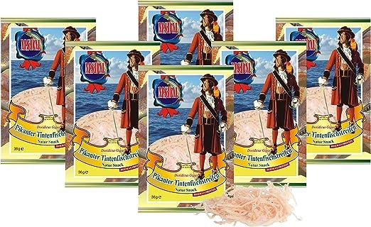 Tiras de calamar - Picante (6 x 36g) Bocado Natural Bajo en carbohidratos comida de fitness snack, Bocadillo seca Aperitivos de proteína omega 3 para ...